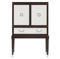 Sadie Hollywood Regency Espresso White Bar Cabinet