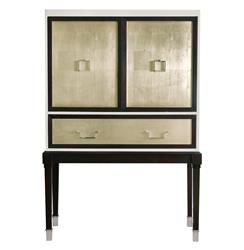 Sadie Hollywood Regency Espresso Champagne Leaf Bar Cabinet