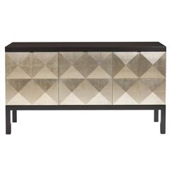 Sterling Hollywood Regency Faceted Gold Leaf Front Sideboard | Kathy Kuo Home