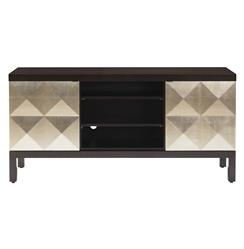 Sterling Raised Diamond Hollywood Regency Gold Leaf Media Console