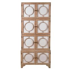 Vance Modern Hollywood Light Oak Milk Glass China Cabinet