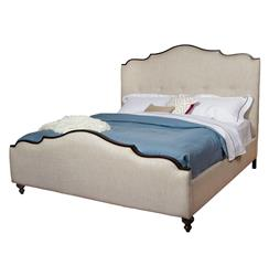Yvonne French Country Scalloped Top Upholstered Bed - Queen