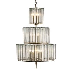 Industrial Loft Modern 12 Light Bud Vase Round 3 Tier Chandelier