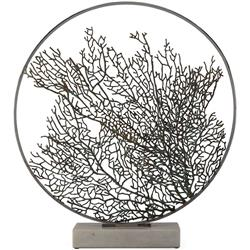 "Michael Aram Ocean Reef Fan Coral 32"" Coastal Black Metal Moon Gate Sculpture"