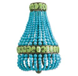 Turquoise Beaded Hollywood Regency Glamorous Blue Sconce