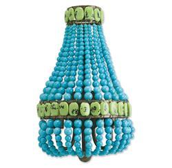 Turquoise Beaded Hollywood Regency Glamorous Blue Sconce