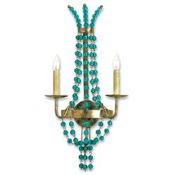 Aqua Blue Glass Bead Champagne Leaf 2 Light Sconce