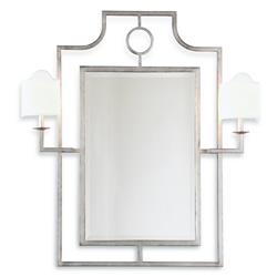 Doheny Hollywood Regency Bamboo Silver Leaf Wall Mirror With Sconces