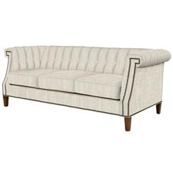 Belleza Hollywood Regency Light Linen Roll Arm Nail Head Sofa | BMS-7004.OE