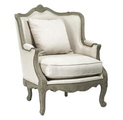 Adele French Country Rustic Off White Cotton Arm Accent Wing Chair