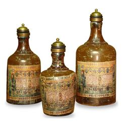 Lucca Large Antique Italian Rustic Decoupage Bottles- Set of 3 | 215044