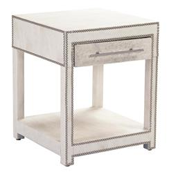 Modern Art Deco Hollywood Regency Hair on Hide Nightstand End Table