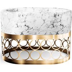 Aristot Modern Rondo Circle Gold Pedestal Carrara Marble Print Bassinet Combo