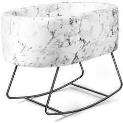 Aristot Modern Dondolo Rocking Black Pedestal Carrara Marble Print Bassinet Combo