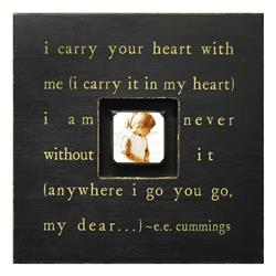 Painted Wood Rustic Photo Box - I Carry Your Heart - Black