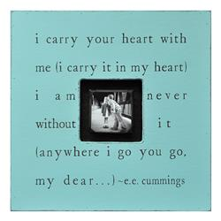 Painted Wood Rustic Photo Box - I Carry Your Heart - Turquoise