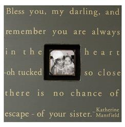 Painted Wood Rustic Photo Box - Bless You My Darling - Slate