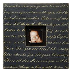 Painted Wood Rustic Photo Box - Remember When You Go - Black