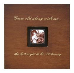 Painted Wood Rustic Photo Box - Grow Old With Me - Chocolate