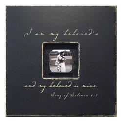 Painted Wood Rustic Photo Box - I Am My Beloved - Charcoal