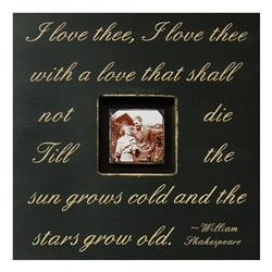 Painted Wood Rustic Photo Box - I Love Thee - Black