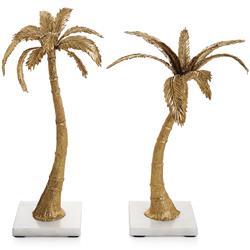 Michael Aram Palm Modern Classic Antique Gold Metal Candleholders - Set of 2