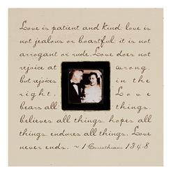Painted Wood Rustic Photo Box - Love Is Patience - Cream