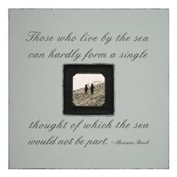 Painted Wood Rustic Photo Box - Those Who Live By The Sea - French Grey