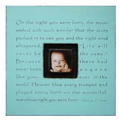 Painted Wood Rustic Photo Box - On The Night You Were Born - Turquoise