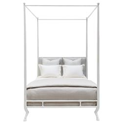 Oly Studio Faline French Country Rain Leather White Metal Bed - Queen