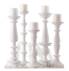 Set of 5 Beach Style Sea Crest Carved Wood White Pillar Candleholders