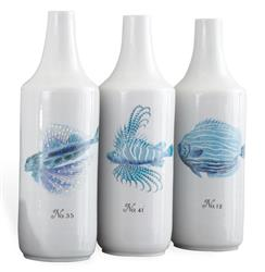 Trio Hand Painted Coastal Style Beach Blue  Fish Vase | Kathy Kuo Home
