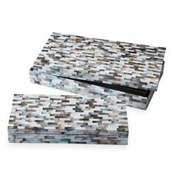 Key Biscayne Mother of Pearl Coastal Beach Mosaic Decorative Boxes- Set of 2 | TZ-AEI213MP-S2