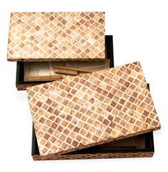 Zanzibar Modern Rustic Bone Wood Decorative Boxes