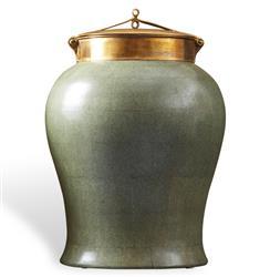 Jade Faux Shagreen Asian Porcelain Bronze Lidded Tea Jar