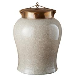 White Crackle Blossom Asian Porcelain Bronze Lidded Tea Jar - Large | TZ-ASB060-W