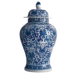 Asian Lotus Covered Blue White Hand Painted Temple Jar - A