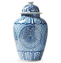 Asian Lotus Covered Blue White Hand Painted Temple Jar - C