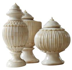 Trio Haggis Bone Covered Global Bazaar Ivory Lidded Urns | TZ-MAJ091-S3
