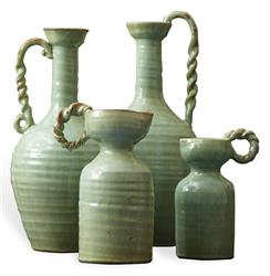 French Country Hand Made Celadon Green Terracotta Vase Set - Set of 4