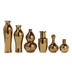 Set of 6 Porcelain Antique Gold Plated Decorative Vase Set