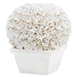 Samuel French Country White Porcelain Boxwood Topiary