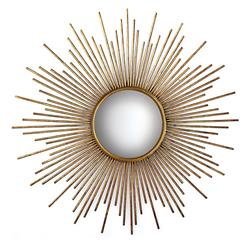 La Villette Antique Gold Hollywood Regency Sunburst Mirror