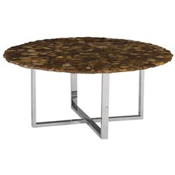 Phillips Collection Modern Classic Brown Agate Stainless Steel Coffee Table