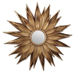 Sunflower Hollywood Regency Antique Gold Wall Mirror