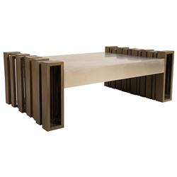 Phillips Collection Barcode Modern Slatted Mahogany Wood Coffee Table