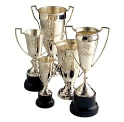 Victoria Set of 5 Hollywood Regency  Engraved Vintage Trophies | Kathy Kuo Home