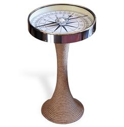 Nautical Glass and Rope Coastal Style Compass Accent Side End Table