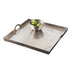 Morton Square Mixed Silver Metal Contemporary Serving Tray | TZ-HIT030