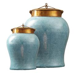 Turquoise Shagreen Asian Porcelain Bronze Lidded Tea Jar - Small | TZ-GAL503-PLB
